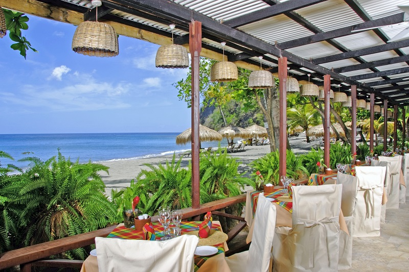 St Lucia-Anse Chastanet-Beach Restaurant
